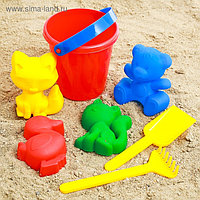 Набор для игры в песке №1: ведёрко, 4 формочки, грабельки, лопатка, МИКС