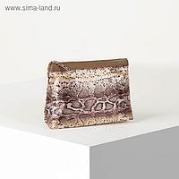Косметичка простая, отдел на молнии, цвет коричневый/золото