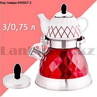 Набор чайный двойной чайник для кипячения воды со свистком и заварочный чайник с ситом А-761Т красный