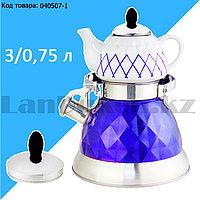 Набор чайный двойной чайник для кипячения воды со свистком и заварочный чайник с ситом А-761Т синий