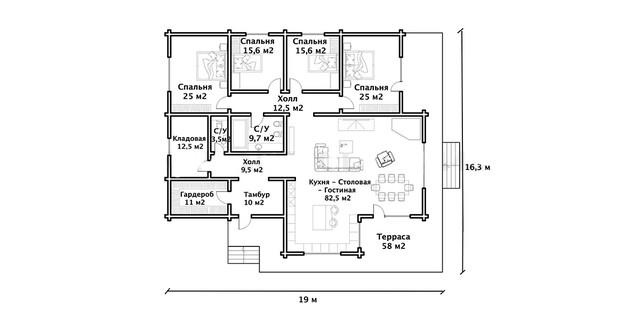 Проект  деревянного дома из бруса с мансардой и терасой, план 1-этажного дома и строительство под ключ, проекты и фото деревянных домов.