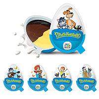 """Шоколадное яйцо (десерт) """"Простоквашино"""" с шоколадной и молочно-ванильной пастой и игрушкой-брелком"""