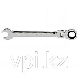 Рожково-накидной ключ с трещоткой, шарнирный, зеркальный хром, 14мм Matrix