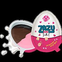"""Шоколадное яйцо (десерт) """"ZAZU for kids"""" с клубнично-молочной шоколадной пастой и светящейся игрушкой"""