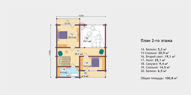 Проект двухэтажного дома из бруса, план двухэтажного дома и строительство под ключ, проектирование и строительство деревянных домов.