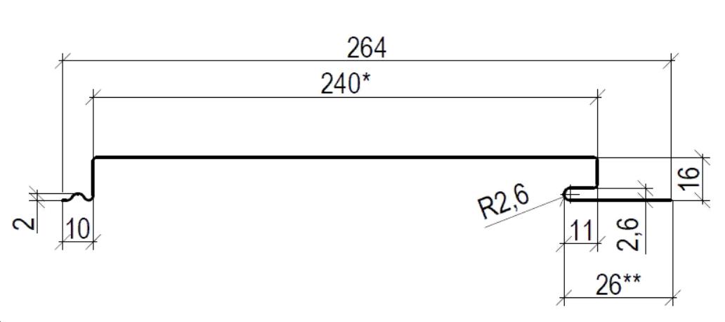 Фасадная панель 240 мм RAL 7004 глянец 0.70 мм   (Металлосайдинг)    Цена 1198 тенге при заказе свыше 60 п.м