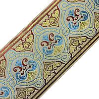 Лента декоративная жаккардовая с орнаментами 90 мм, #902 салат-бордо