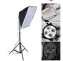 Комплект 2 х Софтбокс 50×70 на 4   лампы на стойках + 8 люминесцентных ламп по 150 Ватт для постоянного света, фото 3