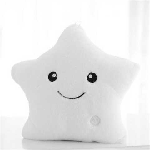 Светящаяся плюшевая подушка с функцией воспроизведения, цвет белый