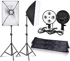 Комплект софтбокса на 4 люминисцентные лампы по 150 W + стойка+4 лампы, фото 3