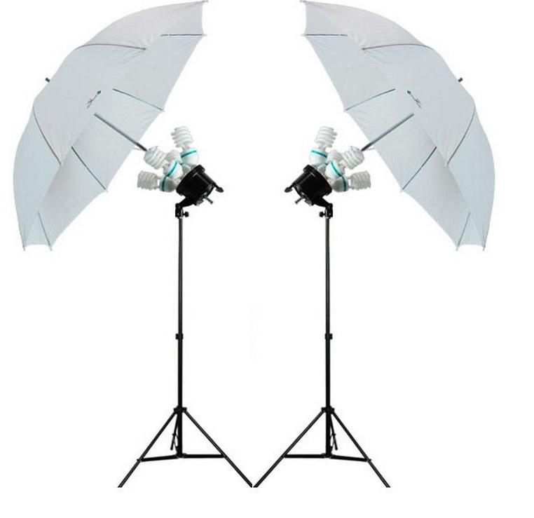 2 зонта 110 см на просвет на стойках с головками на 4 лампы