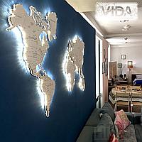 Карта мира из акрила с подсветкой