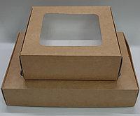 Подарочная крафт коробка, 18*18*5,5 см.