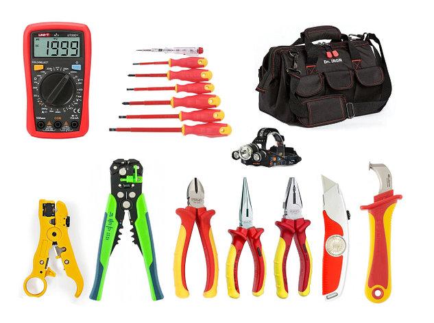 Диэлектрический набор инструментов  электрика 1000B, 17 предметов, фото 2