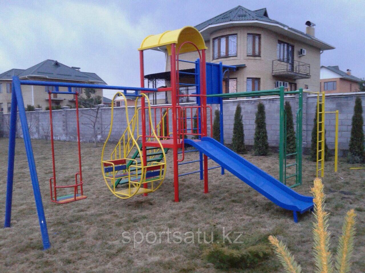 Спортивная игровая площадка для детей (горка, турник, баскетбольный щит с кольцом, качели)