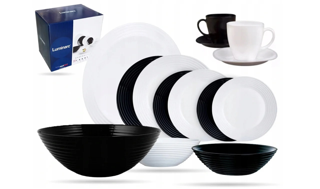 Столовый сервиз Luminarc Harena White&Black 38 предметов на 6 персон