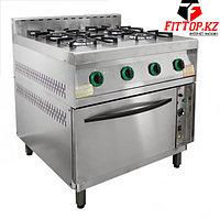 Плита газовая 4-х конфорочная с жарочным шкафом ПГ-4Д-01 (840х850 (895)х860 (960) мм, 20 кВт, 220 В)