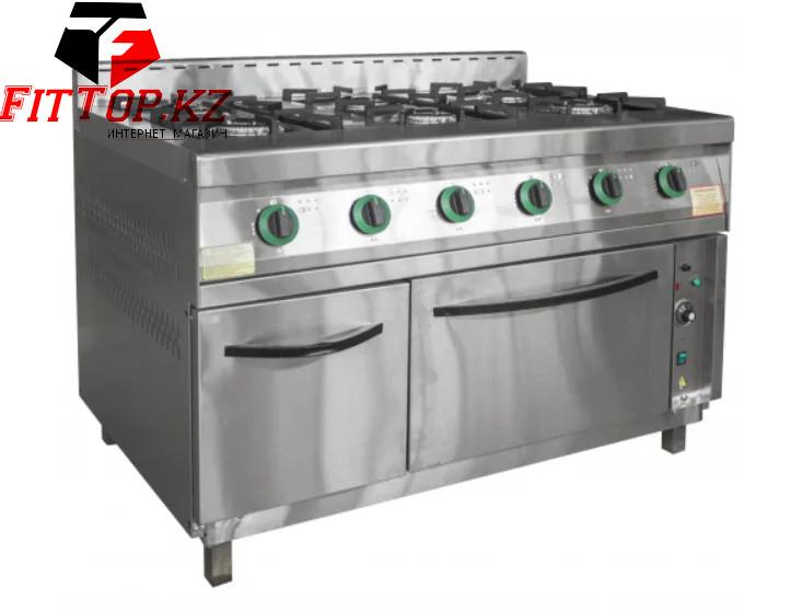 Плита газовая 6-ти конфорочная с жарочным шкафом ПГ-6Д-01(1265х850(895)х860(960) мм, 27 кВт, 220 В)