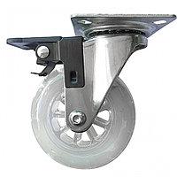 Колесо ПУ прозрачное поворотное с тормозом d-75 мм, крепление платформенное Сибртех