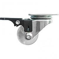 Колесо ПУ прозрачное поворотное с тормозом d-35 мм, крепление платформенное Сибртех