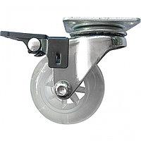 Колесо ПУ прозрачное поворотное с тормозом d-50 мм, крепление платформенное Сибртех