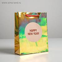 Пакет голография вертикальный Happy New year, MS 23 × 18 × 10 см