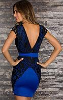 Сине-черное платье карандаш