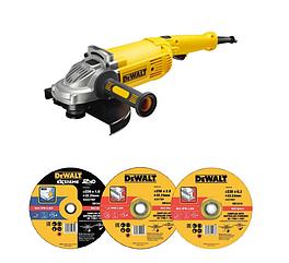 Набор угловая шлифовальная машина DEWALT DWE496D10, 230 мм, 2600 Вт DWE496 и 10 кругов