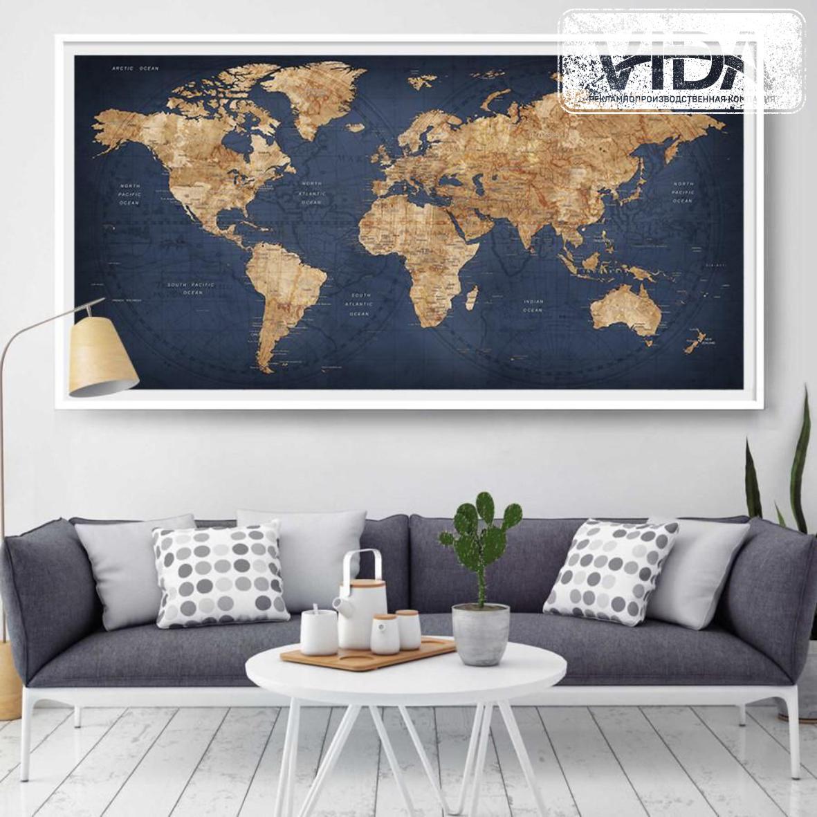 Карта мира на холсте с багетом