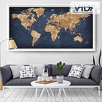 Карта мира на холсте