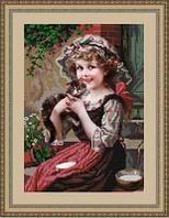 """Схема для вышивания """"Девочка с котенком"""""""