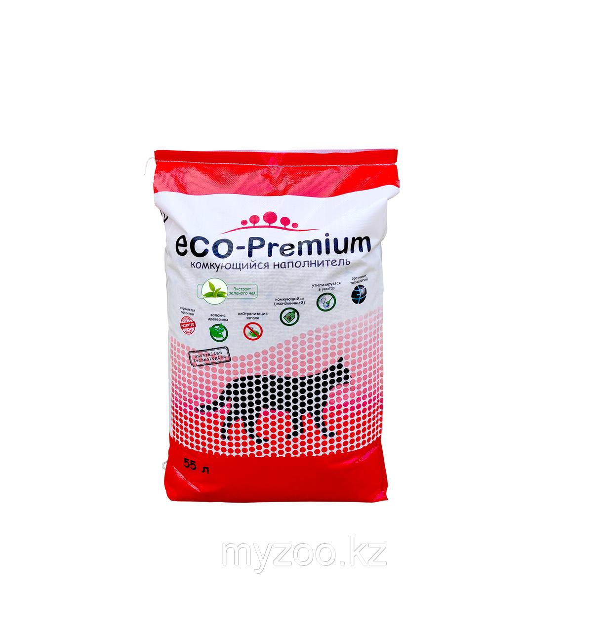 ECO-Premium Зеленый чай, 55 л - 20 кг |Эко-премиум комкующийся древесный наполнитель|