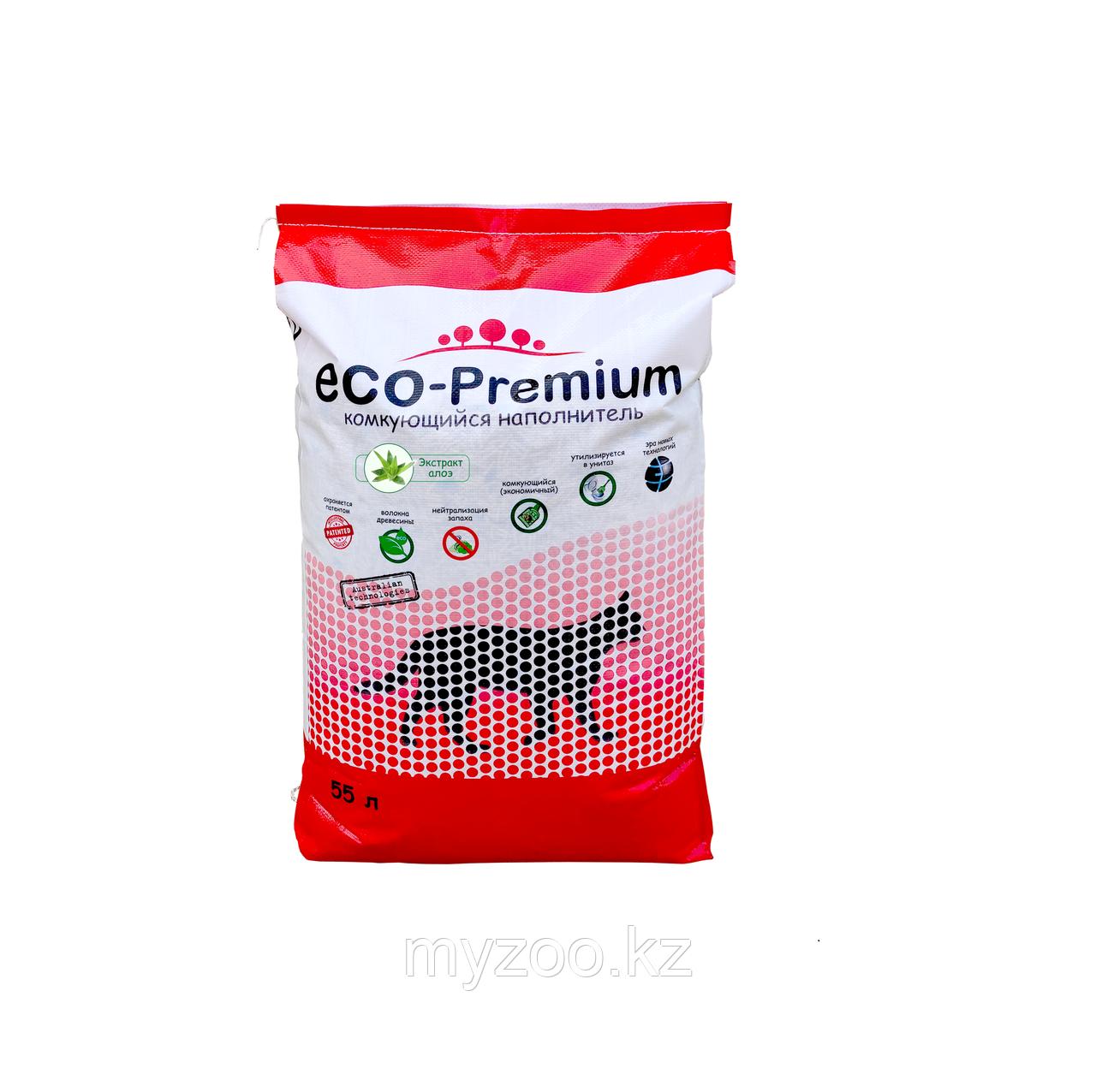 ECO-Premium Алоэ, 55 л - 20 кг |Эко-премиум комкующийся древесный наполнитель|