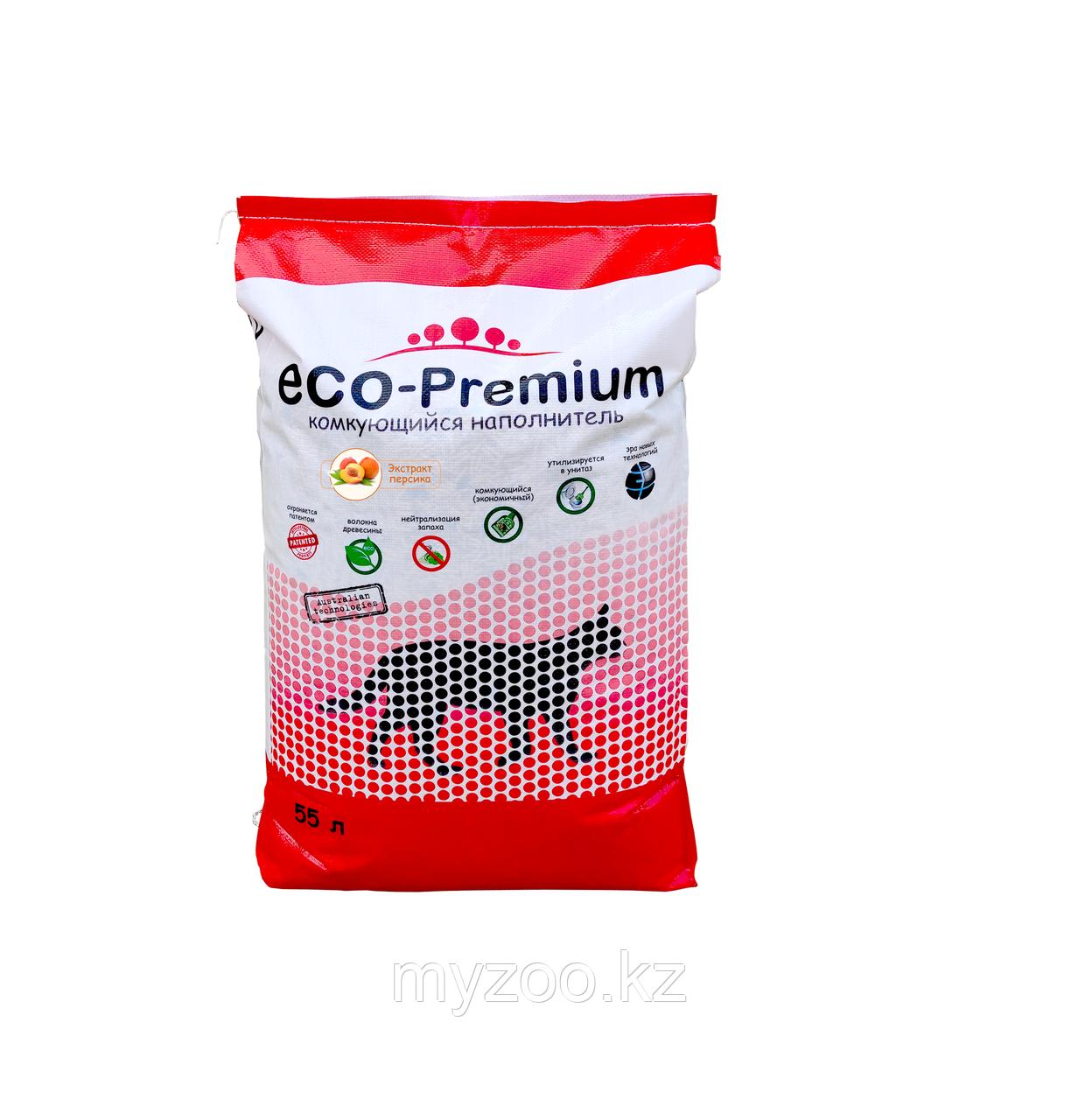 ECO-Premium Персик, 55 л - 20 кг  Эко-премиум комкующийся древесный наполнитель 