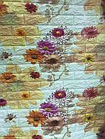 3D обои, Бежевый-кирпич Цветы