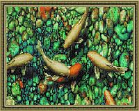 """Алмазная мозаика на подрамнике """"Кои и камешки"""", 40х50 см"""