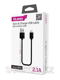 Кабель OLMIO USB 2.0 - microUSB,  2м, 2.1A, черный