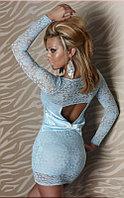 Голубое гипюровое платье с бантом