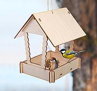 Кормушка для птиц сборная Домик с брёвнами 23 × 18 × 22 см