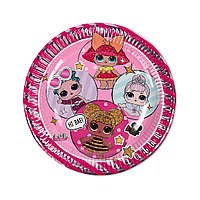 Тарелка праздничная  ВЕСЁЛАЯ ЗАТЕЯ  1502-4175  Куклы LOL  Диаметр 23 см.  (8 шт. в пакете)  Бумажная  Розовая