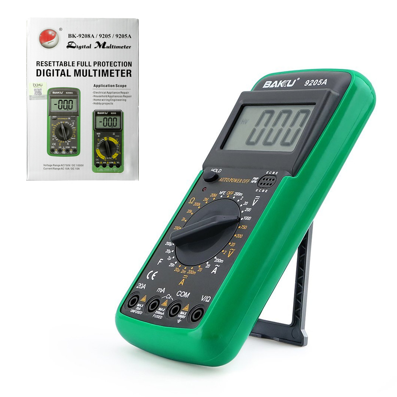 Мультиметр цифровой Baku BK-9205A с функцией автоотключения (ток до 20А) Green/Gray