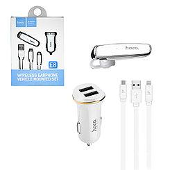 Набор Hoco E8 Bluetooth гарнитура + автомобильное зарядное устройстово White