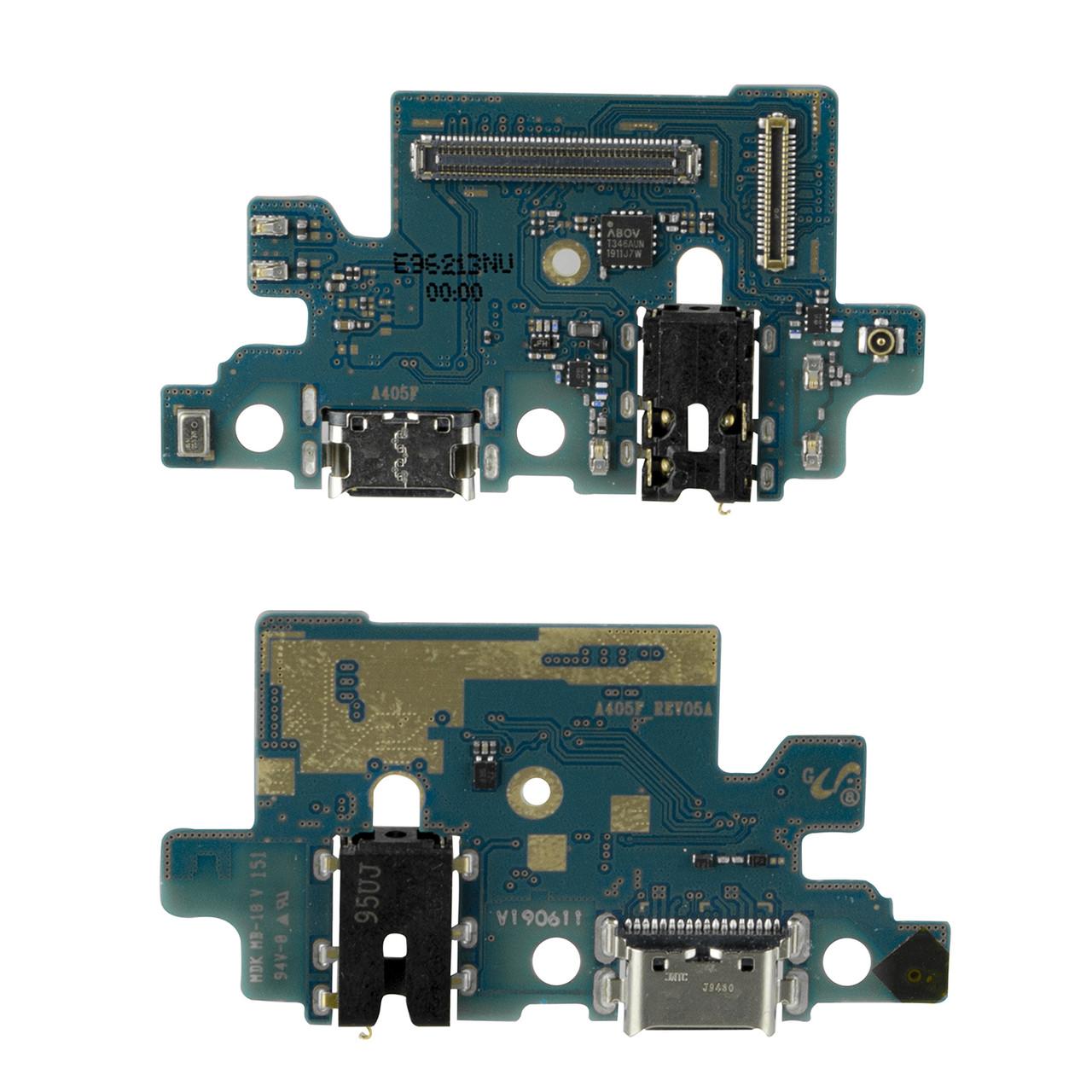 Нижняя плата Samsung Galaxy A40 с коннектором заряда и гарнитуры