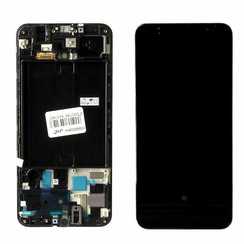Дисплей Samsung Galaxy A50 A505 в сборе с рамкой Service Pack, Black