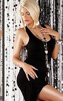 Черное Длинное платье-маечка