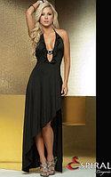 Черное длинное сексуальное платье