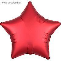 """Шар фольгированный 18"""" «Звезда», сатин люкс, цвет красный ягодный"""