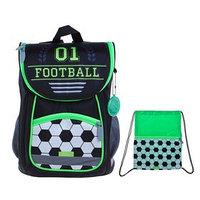 Ранец Стандарт Сalligrata, 36 х 26 х 16, мешок для обуви, 'Футбол', чёрный/зелёный
