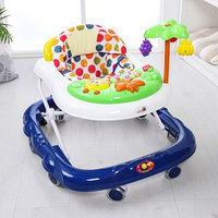 Ходунки 'Пальма', 7 силик. колес, муз., игрушки, синий/белый, муз.панель цвет МИКС