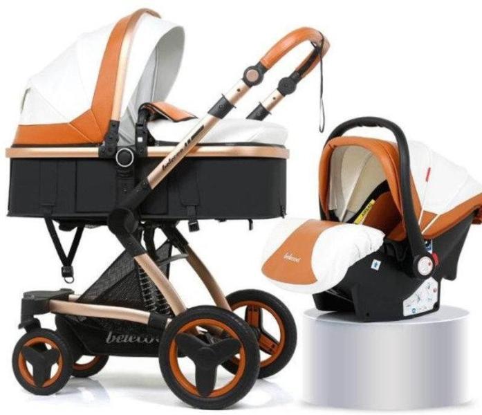 Коляска Belecoo X6 3в1 белый-оранжевый